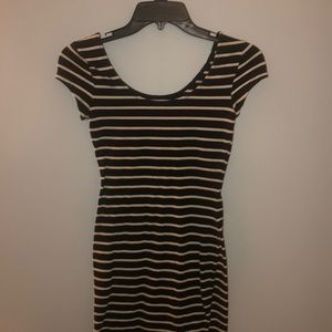 Striped form fitted dress